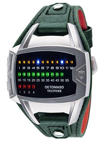 Reloj de pulsera Tecpunk para hombre con caja de acero inoxidable plateada y correa de piel auténtica de DETOMASO. Reloj digital binario con indicadores LED.