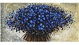 Orlco Arte Dipinta a Mano Spessa Blu Cherry Petalo Blu Albero Originale Dipinto Astratto Art Decor Parete spatola Grande Effetto Pittura a Olio su Tela Pittura ad Olio Blu, Blue, 24x48inch