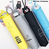 My Party Suppliers 3 Folding Minion Cartoon Travel Umbrella with Case (Random Print, Multicolour)