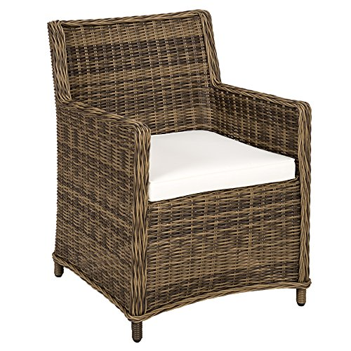 a9f30aebe5c5 TecTake 2 x Poly rattan wicker garden chairs outdoor armchair set | aluminium  frame | weather-resistant | brown black + cushions