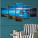 lkfqjd Wohnzimmer Wand Druck Hd Bild Kunst Dekoration 5 Stücke Cliffs Blue Big Sea Landschaft Leinwand PosterModulare Gemälde Kein Rahmen