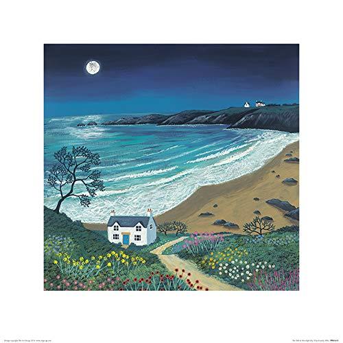 El Arte Grupo Jo Grundy (el Camino a la luz de la Luna Bay)–Lámina Decorativa (40x 40cm, Papel,, 40x 40x 1,3cm