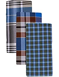 Tech Marketing Men's Cotton Lungi (Multi-Coloured, Combo of 3) COLOR MAY VARY