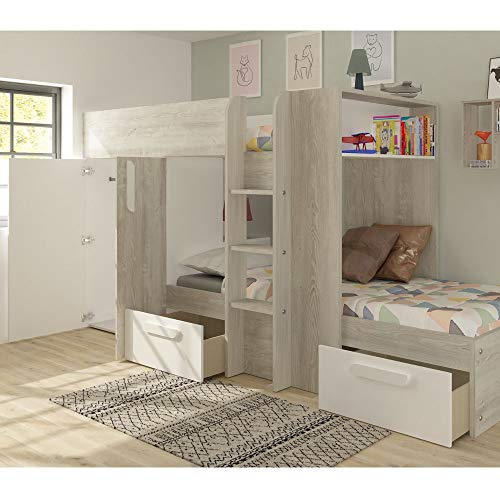 White and Oak Kids Storage Bed, Happy Beds Barca Wooden Bunk Bed - European Single (90 x 200 cm) with Orthopaedic Mattress Included