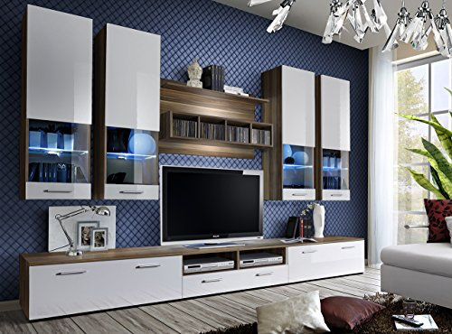 ... Juub Wohnwand Anbauwand Wohnzimmer Schrankwand DORADE Hochglanz LED  BELEUCHTUNG TOP   Dorade Nussbaum Weiß II ...