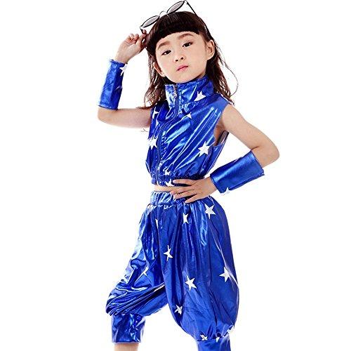der Jungen Zweiteilig Jazz Hip Hop Kostüm Jacke & Hosen Moderne Performance Kleid Dancewear, Tief Blau, EU 130=Tag140 (Hip Hop Tanz Kostüm Für Jungen)