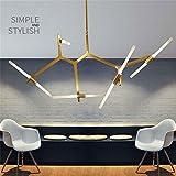 Moderne minimalistische Kunst Dekoration Zweig Pendelleuchten Lampen italienischen Design Persönlichkeit Wohnzimmer Restaurant Lampen Leuchten, schwarz, 6 Köpfe