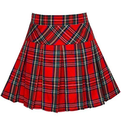 Mädchen Rock Zurück Schule Uniform Rot Schottenkaro Rock Gr. 140-146