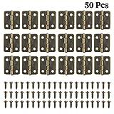 50 Piezas de Bronce Antiguo Mini Bisagras Retro Bisagras a tope con 200 Piezas de Tornillos de Bisagra para Pequeños Proyectos de BRICOLAJE Joyero Casas de muñecas