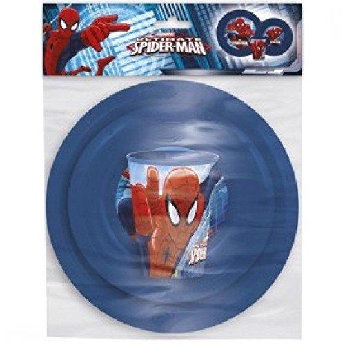 Kids 3Stück verschiedenen Charakter Design Geschirr Abendessen-Set mit alle Zubehör im Lieferumfang enthalten (Altersgruppe: 2+) Spiderman (Oneida Gabel Kinder)