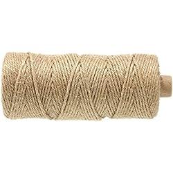 jijAcraft 100M Natürliche Baumwollfaden Juteschnur 3 mm Jute Kordel Bastelschnur Garten Schnur Ideal geeignet fürs DIY Basteln,Garten Dekorieren