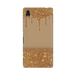 Mobicture Gold Glitter Premium Printed High Quality Polycarbonate Hard Back Case Cover for Sony Xperia M4 Aqua With Edge to Edge Printing