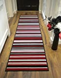 "LONG MODERN TRADITIONAL STRIPED SHAGGY HALLWAY HALL RUNNER RUG IN MULTI COLOURS (60 x 220 cm (2' x 7'4""), Striped Red)"