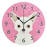XiangHeFu Horloge Murale Ronde 25,4 cm de diamètre Silencieux Chihuahua Chien Mignon Décoration pour la Maison, Le Bureau, l'école