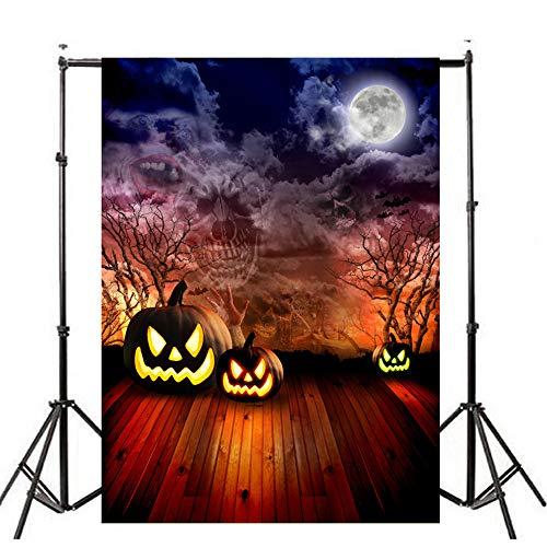 (Deloito Halloween Hintergründe Kürbis Vinyl 3x5FT Laterne Wandtattoo Hintergrund Fotografie Studio Wandaufkleber (A, 90cm*150cm))