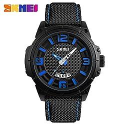 SKMei Watch Men Sport Wristwatches Quartz Analog Waterproof Clock Hour Auto Date - 9170 - Blue