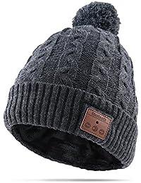 AIKER Bluetooth Chapeau Musical Sans fil Smart Bonnet Chapeau Pom Pom Doux et Chaud Knit Hiver Fourrure Doublé Crâne Cap pour Hommes, Femmes et Teens