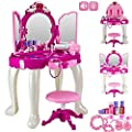 FunkyBuys® Girls Glamour Mirror Makeup Dressing Table Stool Playset Toy Vanity Light & Music New
