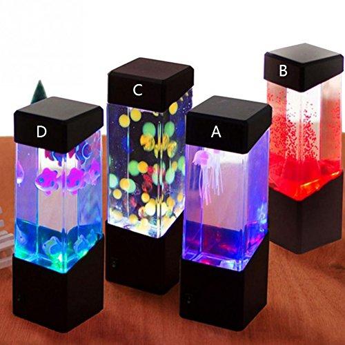 Oyalaiy oyotric Jellyfish Lampe E-Qualle Tank Künstliche Mini Aquarium-Color Farbwechsel Mood Lampe für Home Dekoration Magic Lampe für Geschenk a