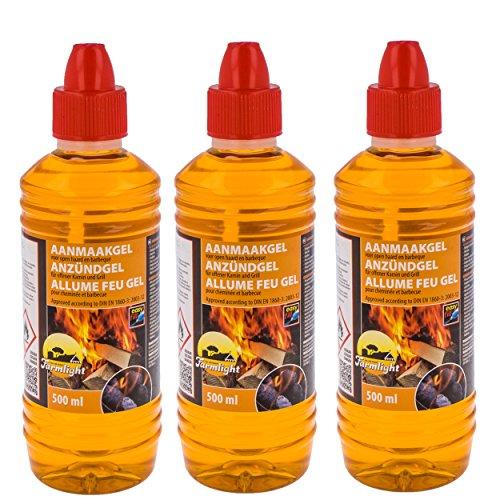 Grill Anzünder Gel 3x Brenngel flüssig 500ml für alle Arten von Kohle, flüssiges Anzündergel für Tischgrill, Grillanzünder für Grill und Kamin - Brennpaste geruchloser Brennstoff