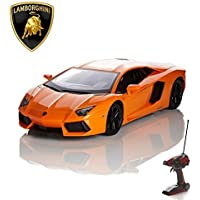 Best price for CMJ RC Cars Lamborghini Remote Control Car with Working Lights - Electric Radio Control Lamborghini Aventador RC Car, Official Licensed 1:14 Lamborghini Toy Car in Orange 2.4GHz Race 2 Cars Together! from radiocontrollers.eu