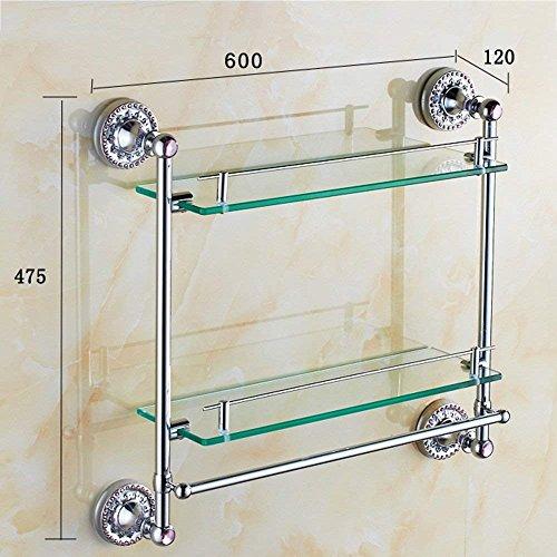 Vanity Stand (XQY Hohe Qualität Küche Badezimmer Regal, alle Kupfer Bad Racks Doppel Glas Vanity Stand mit Handtuch Pole Badezimmer Hardware Anhänger Gewährleistung der Qualität, Handtuchhalter,B)