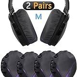 Fundas para auriculares de tela elástica, lavables, para almohadillas sanitarias, para auriculares de 8 cm a 11 cm, almohadillas para auriculares de diadema, ideales para gimnasio, deportes (largo 2 pares)