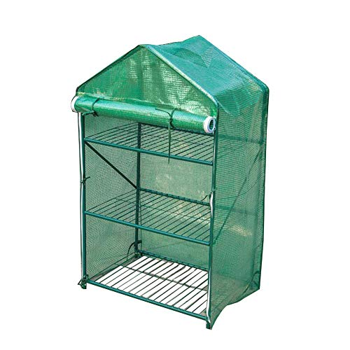 LIANGLIANG Garden Greenhouse Gardening 3 Layers Succulent Plants Waterproof Plastic Steel Tube Skeleton Insulated Cover (Color: Green, Size: 70x16x120cm)