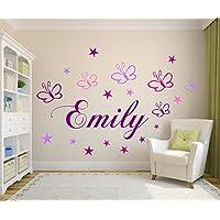 Wandschnörkel ® Wandtattoo Kinderzimmer personalisiert mit 19 Sternen und Schmetterlingen Mädchen Baby Zimmer