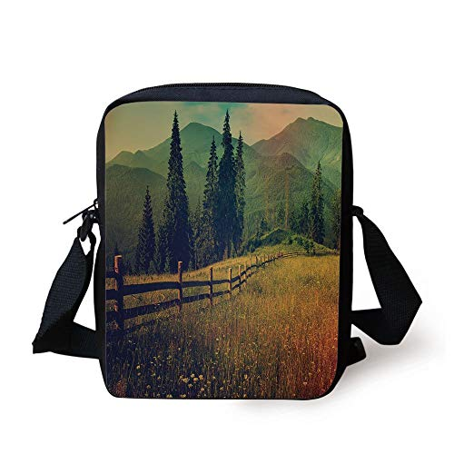 ZKHTO Nature,Mountain Valley with Fir Tree Flower Field Fences Rural Panorama Decorative,Dark and Forest Green Cinnamon Print Kids Crossbody Messenger Bag Purse - Panorama Pc