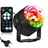 LED Party Lights Disco Ball Strobe Light 5 W Light Portable 7 Colours Sound Activated Party Lights Stage for Festival Bar Club Party Outdoor with EU adapter (mit Fernbedienung)