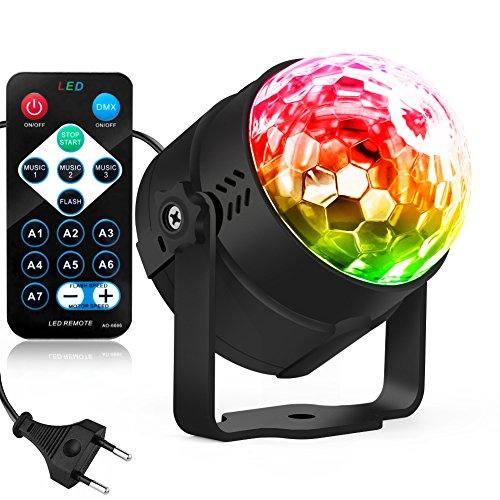 LED Lichteffekte Disco Party Licht LED Bühnenlicht Tanzabend-Licht Partybeleuchtung Magic Ball mit Tonsteuerung Stimmungslicht 5W,7 Farben RGB Waitiee für Hochzeit Feste Dekoration Bars Club Party, Indoor und Outdoor(mit Fernbedienung)