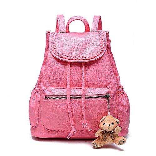 LDMB Damen-handtaschen PU Leder Casual Vertikalschnitt geprägte Studentinnen kleiner Bär Rucksack Pink