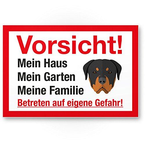 Vorsicht Hund Mein Haus, Garten, Familie - Hunde Kunststoff Schild, Hinweisschild Grundstück mehrsprachig Shepherd - Türschild Haustüre, Warnschild/Einbruchschutz - Achtung Rottweiler