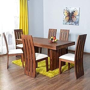... Nisha Furniture Sheesham Wooden Dining Table Set | Dining Table Set with 6 Chairs & Nisha Furniture Sheesham Wooden Dining Table Six Seater | Dining ...
