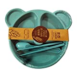 #8: Shoppertize Baby Boy's and Girl's Bear Baby Wheat Fibre Plates with Spoon, Fork, Chopsticks (Blue) - 4 Piece