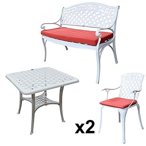 Lazy Susan - SANDRA Quadratischer Kaffeetisch mit 1 ROSE Gartenbank und 2 ROSE Stühlen -...