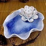Bargain World Incensario de cerámica solo agujero loto azul asiento incienso grieta de hielo
