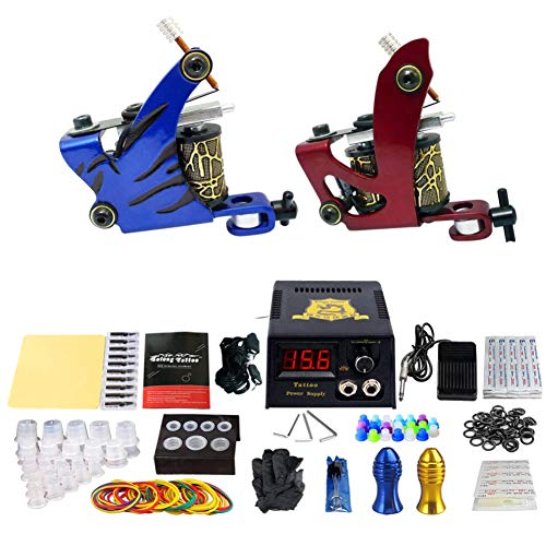 RWANG Body Art Tattoo Professionelle Stromversorgung Und 2 Pro Guns Tattoo Maschine Kit Für Anfänger Einfaches Design (TK210)