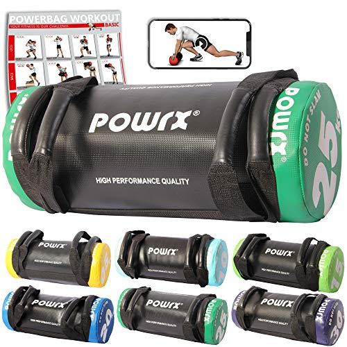 POWRX Sac lesté/Power Bag I 5-30 kg I Sac de Fitness en Similicuir pour Une Forme Fonctionnelle (25 kg Noir/Vert foncé)