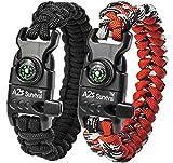 A2S K2-Peak Bracelet de protection en paracorde avec boussole intégrée, allume-feu, couteau d'urgence et sifflet, noir/rouge