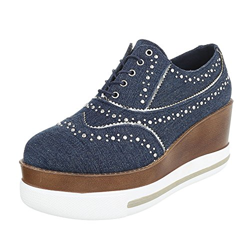 Ital-Design Ital-Design Schnürer Damen-Schuhe Oxford Schnürer Schnürsenkel Halbschuhe Blau, Gr 36, 6681-P-