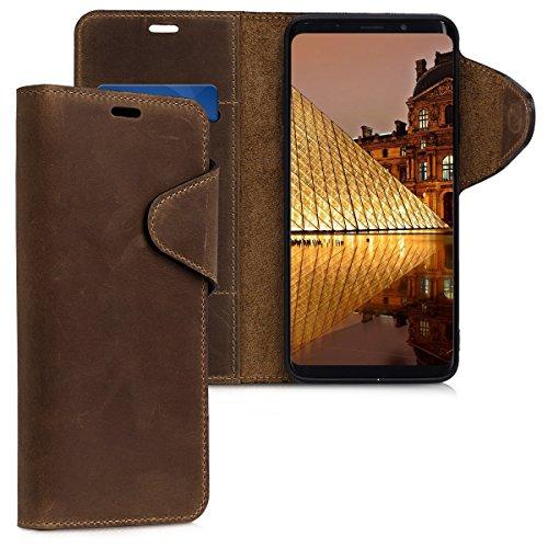 kalibri-Hlle-fr-Samsung-Galaxy-S9-Plus-Echtleder-Wallet-Case-Schutzhlle-mit-Fach-und-Stnder-in-Braun