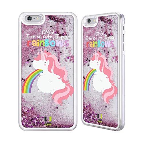 Apple iPhone 6 Plus / 6s Plus Einhorn Regenbogenkotze Rosa Handyhülle mit flussigem Glitter