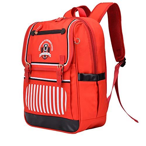 LIEOAGB Schulrucksack für Kinder Jungen Mädchen Grundschule Schultasche 7-12 Jahre Oxford Wasserdichte Reisetasche für Kinder Kleinkind Outdoor Rucksack-red-OneSize -