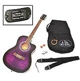 ts-ideen 4/4 Elektro Westerngitarre Lila Tiger mit Pickup und Zubehörset: Tasche, Gurt, Ersatzsaiten und Stimmpfeife