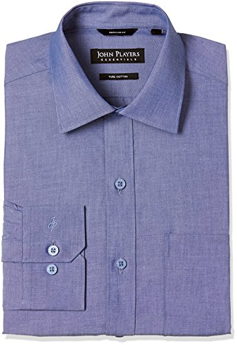John Players Men's Formal Shirt (8907482053000_JFMWSHCOR1003004_42_Cobalt Blue)