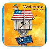 LEotiE SINCE 2004 Wanduhr mit geräuschlosem Uhrwerk Dekouhr Küchenuhr Baduhr Vogel Vogelhäuschen Willkommensspruch USA Flagge Acryl Deko Wand Uhr Vintage