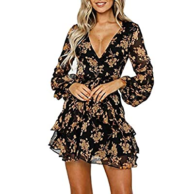 Womens Dresses Casual Floral Print Ruffles Wrap Dress Long Sleeve Swing Pleated Skater Mini Dress