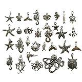 Colección de abalorios, 100 g, para manualidades, joyería, manualidades, accesorios para hacer collares y pulseras Silver Marine Charms